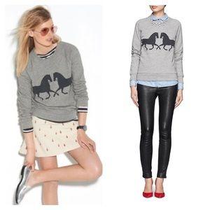 J Crew Factory Horse Gallop Grey Sweatshirt - XS