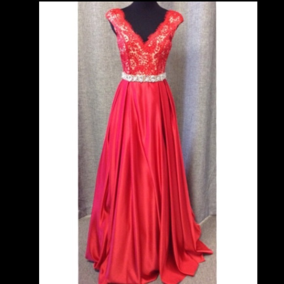 Jovani Dresses | Style 21790 Red Lace Ball Gown | Poshmark