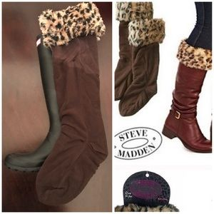 Hunter Boots Accessories - Leopard Fur Fleece Boot Liner Hunter Welly Socks