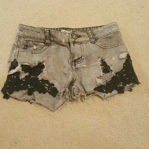 often Pants - Ripped Lace Jean Shorts Gray