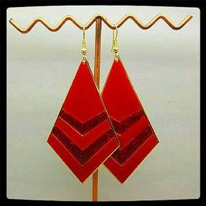 Jewelry - Boho Fashion Gold Tone Red & Orange High Enamel