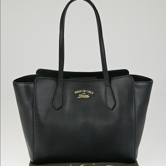 14% off Gucci Handbags - Gucci - pebbled leather swing small black ...