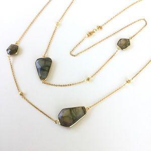 Argento Vivo Gold Geo Stone Long Strand Necklace