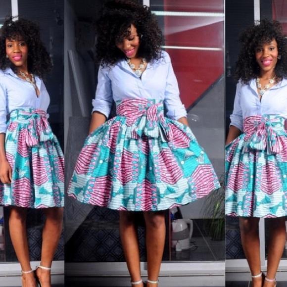 Ankara Print African Tie Waist Skirt