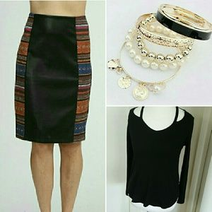 Moon Collection Dresses & Skirts - MULTI-COLORED KNITTED LEATHER PENCIL SKIRT