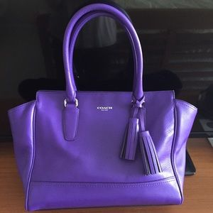 Coach 19890 Leather Candace Carryall Tote Purple