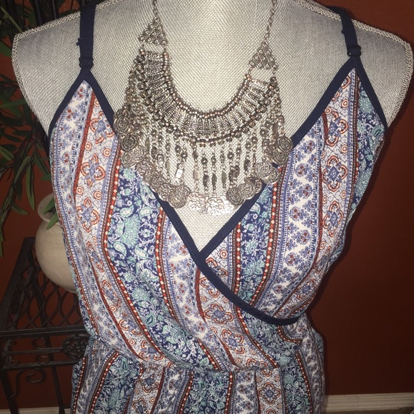 Kandy Kiss Dresses - Kandy Kiss Blue Tribal Tank Short Romper M NEW