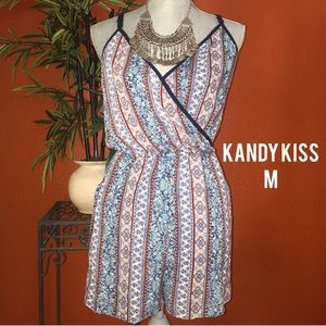 Kandy Kiss Dresses & Skirts - Kandy Kiss Blue Tribal Tank Short Romper M NEW