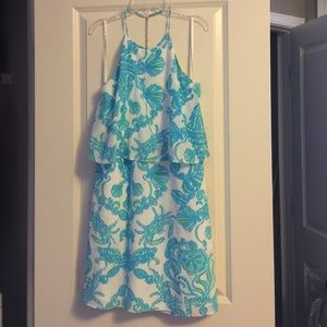 Lilly Pulitzer Gold Digger Whistler Halter Dress