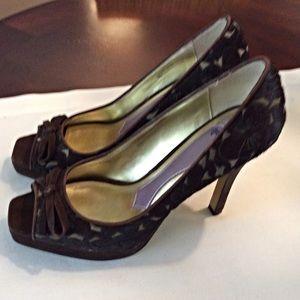 Hale Bob Shoes - NWOT Hale Bob Pony Skin Peep Toe Platform