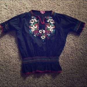 Lola Tops - Peasant Boho Mexican Style Embroidered Blouse Top