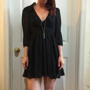 Forever Black Silk Swiss Dot Babydoll Dress