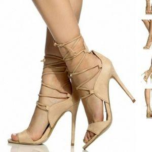 Cicihot Lace up nude heels sz 7.5 NEW