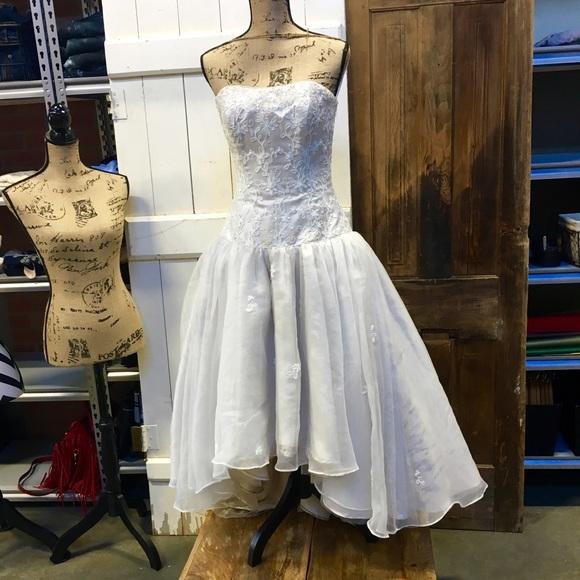 drop waist high low wedding dresses