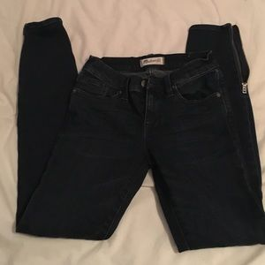 Madewell skinny dark wash jeans with ankle zippers