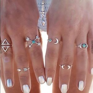 Set Of Six Boho Theme Rings