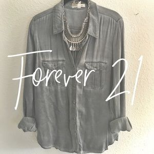 Forever 21 / distressed gray button up