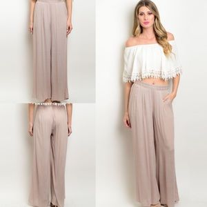 Boutique Pants - Taupe Lighweight Wide Leg Pants