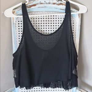 Free People black sheer crop top with lace details