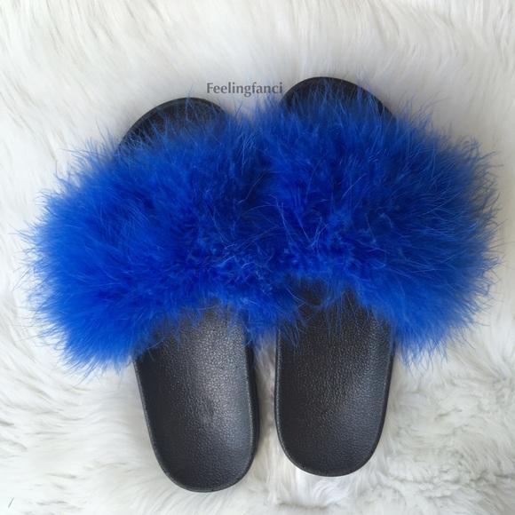 1ac95542bd6f0 Royal Blue faux Fur Slides. M 5743cb5199086a3136006841