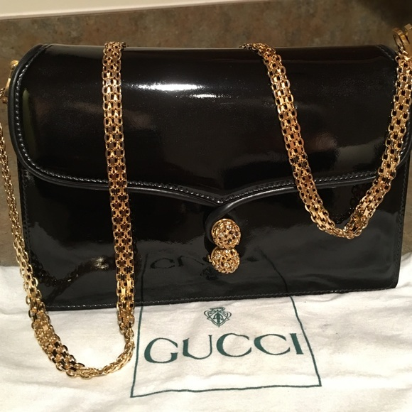 b409b91c4abb2d Gucci Handbags - GUCCI , VINTAGE BLACK PATENT LEATHER EVENING BAG