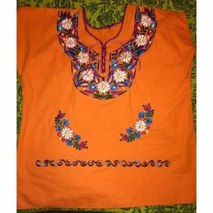 Authentic Mexican Embroidered Orange Shirt