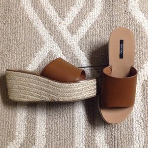 Tan espadrille flat forms