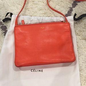 Celine Handbags - Celine trio cross body orange