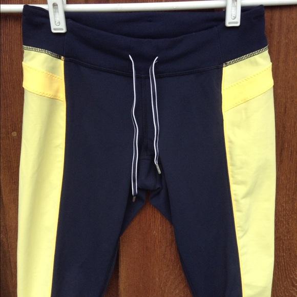 71% off lululemon athletica Pants - Lululemon navy blue and yellow ...