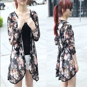 Floral kimono shawl cardigan cover up
