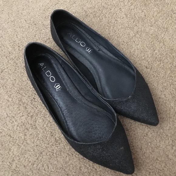 Aldo Shoes Black Sparkly Pointy Toe Flats Poshmark