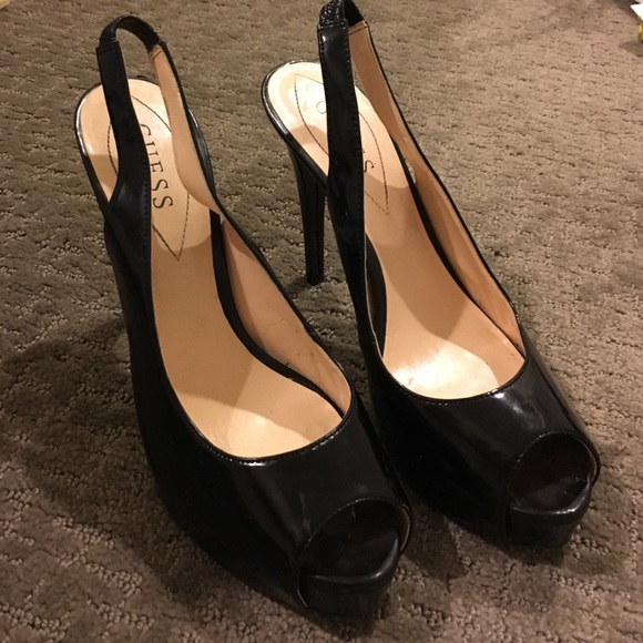e0fd1dc635fe Guess Shoes - Guess Black Patented Peep Toe Slingback Heels