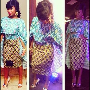 Other - African Fabric Pencil Skirt and Blouse