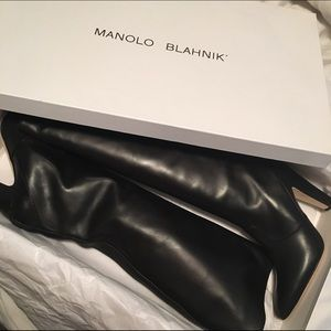 Manolo Blahnik Shoes - NEW manolo blahnik / leather knee high boot