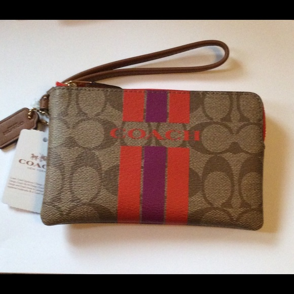 Coach Handbags - Authentic Coach Varsity Stripe Signature Wristlet