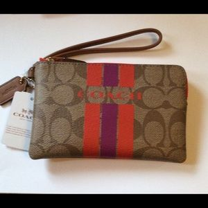 Authentic Coach Varsity Stripe Signature Wristlet