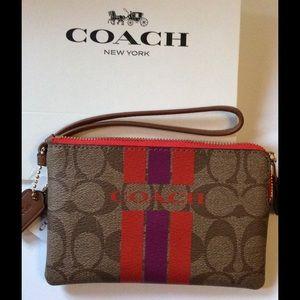 Coach Bags - Authentic Coach Varsity Stripe Signature Wristlet