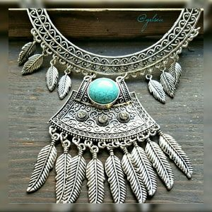 Silver Feather turquoise statement necklace