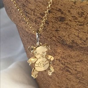 Other - Gold tone 3D teddy bear necklace vintage