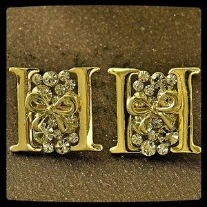Jewelry - Gold Tone & CZ H-Shaped Stud Earrings