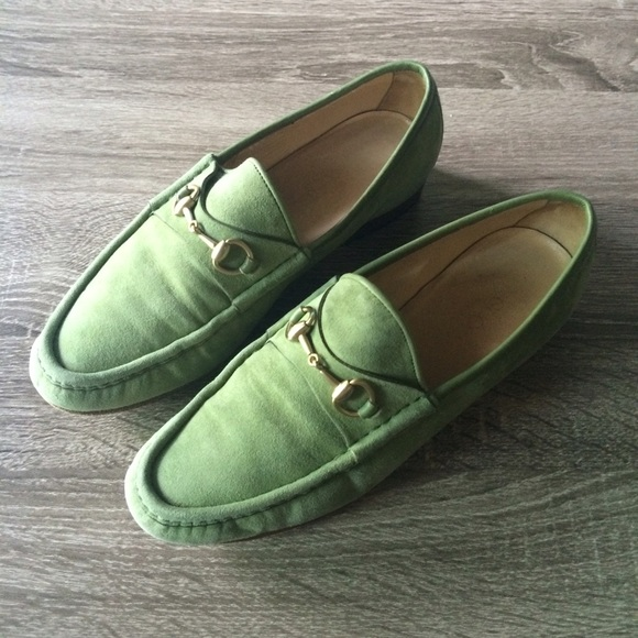 Soldgreen Suede Gucci Horsebit Loafers