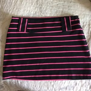 Betsey Johnson pink and black striped skirt