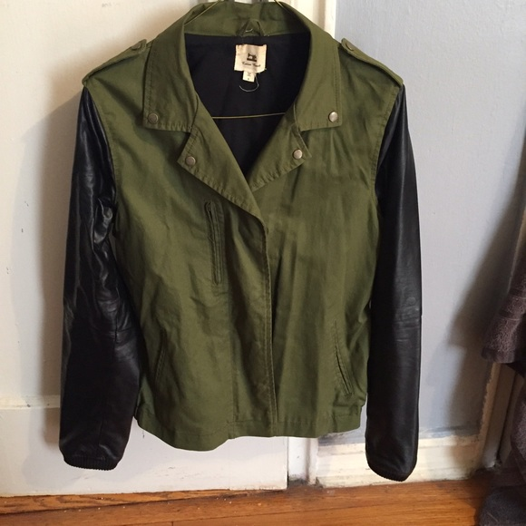 66% off Jackets & Blazers - Green Bomber Jacket with Black Faux ...