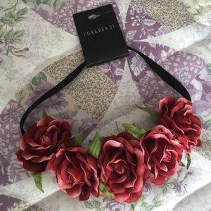 Red/burgundy flower headband