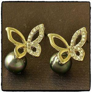 Jewelry - Black Pearl & CZ Butterfly Pierced Earrings