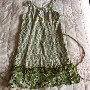 Green and gray printed dress