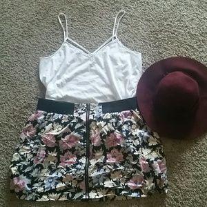 Floral Skirt w/ Gold Zipper