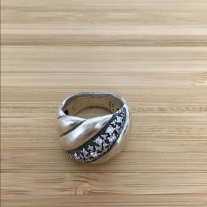David Yurman Sculpted Cable ring sterling diamond