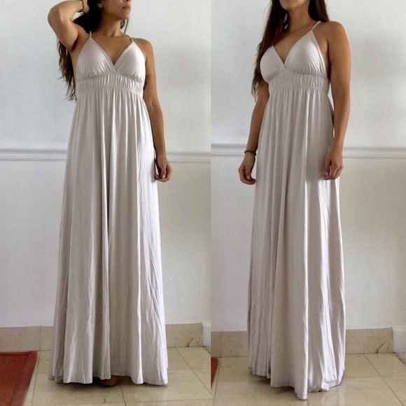 Maxi Ancient Greek Style Dress With Deep Neckline And: Dress Tip - Fashion Dresses Collection