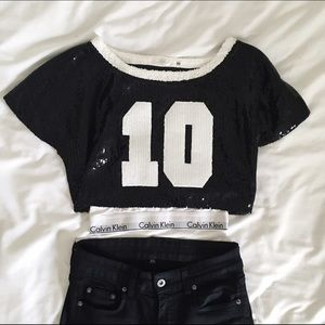 d5ead4ae2d2 LF Tops | Sequined Cropped Sports Jersey Top | Poshmark